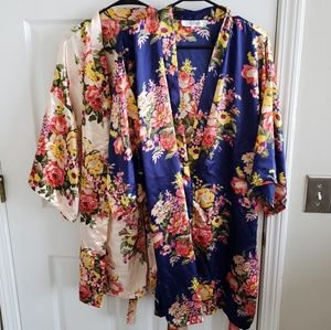 Two Floral Silky Robes